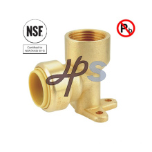 NSF Lead Free Brass Push Fit Fnpt Wallplate Elbow Coupling